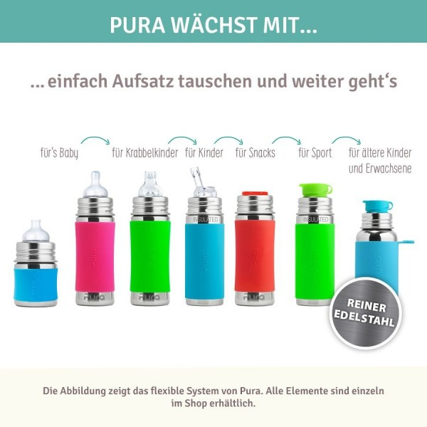 Edelstahl Flasche mit Trinkhalm ab 12 M - open end mix grün