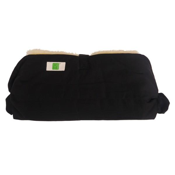 Lammfell Handwärmer für den Kinderwagen schwarz