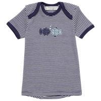 Babyshirt kurzarm Fische Aufnäher navy