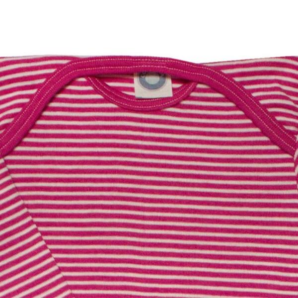 Atmungsaktiver Body Wolle Seide pink gestreift