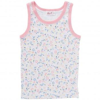 Mädchen Unterhemd Blumen weiß