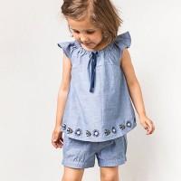 Mädchen Shirt-Tunika jeansblau