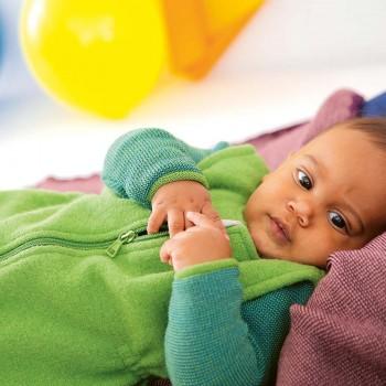 Ganzjahres Baby Schlafsack Schurwolle grün