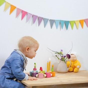 Wimpelkette Kindergeburtstag Deko pastell