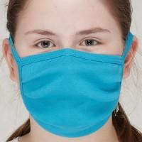 Behelfsmaske waschbar zum Binden – einlagig blau