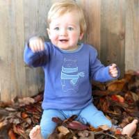 Bär Shirt aufgenäht super edel blau