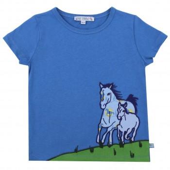 Shirt kurzarm blau Pferde-Aufnäher