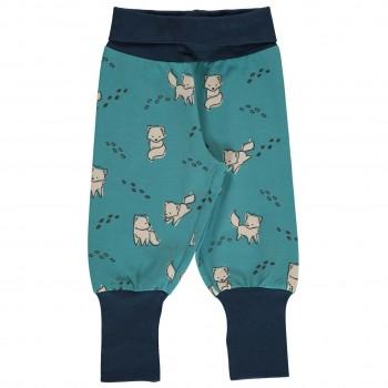 Krabbel- und Spielhose Polarfüchse Bündchen hellblau