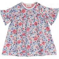 Slub Baby Kleid kurzarm bunte Blumen weiss