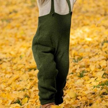 Warme hochwertige Trägerhose oliv-grün