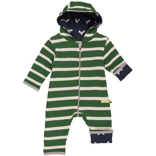 Warmer Wende-Overall Strick Fledermaus grün