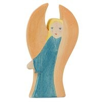 Schutzengel Holz blau Holzfigur 11 cm