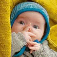 Baby Mütze Merinowolle atmungsaktiv blau