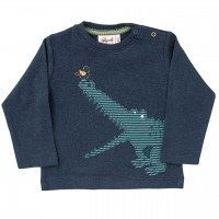 Langarmshirt Krokodil in dunkelblau melange