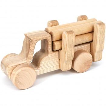 Steckspielzeug Holz Traktor m. Holzstämmen – ab 10 Monaten
