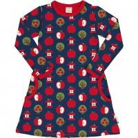 Kleid mit Taschen langarm elastisch Äpfel marine