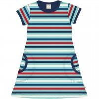 Blaues Ringel Kleid kurzarm