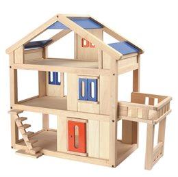 Puppenhaus mit verstellbarer Treppe und Balkon - Vollholz