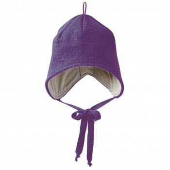 Wintermütze Wolle lila Ohrenschutz