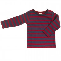 Shirt Langarm navy-rot gestreift