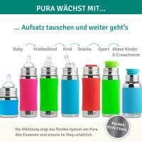 Vorschau: Pura kiki Babyflasche Edelstahl mit langsamen Sauger - pink