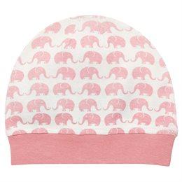 Weiche Babymütze mit rosa Elefanten