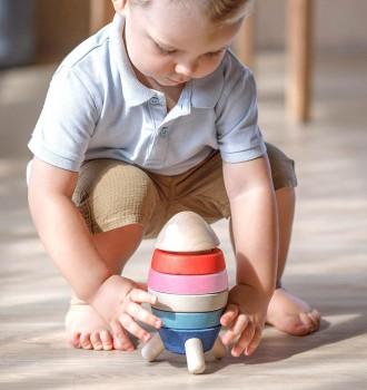 Stapelrakete – Stapelspielzeug Holz ab 18 Monaten