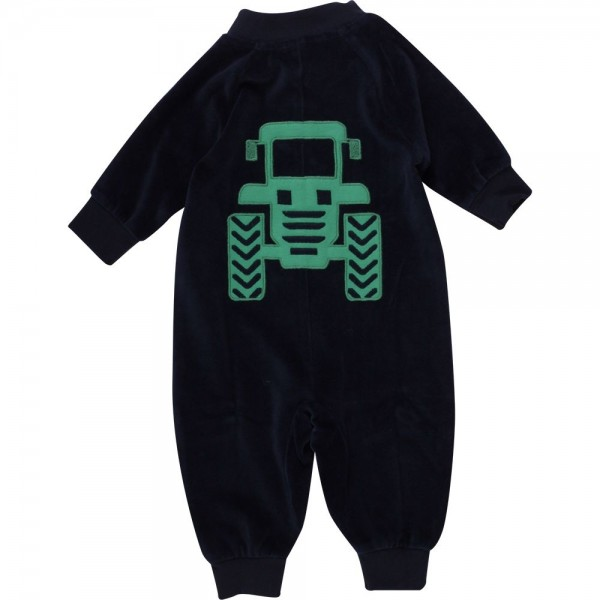 Warmer Velours Babystrampler mit Traktor und Reißverschluss