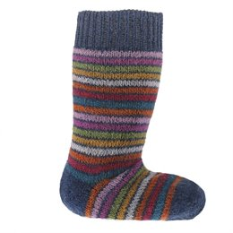 Lange Vollplüsch Socken Wolle warm dick blau