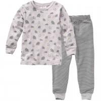 Langarm Schlafanzug Mammut grau
