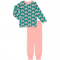 Pfauen Schlafanzug langarm petrol/rosa