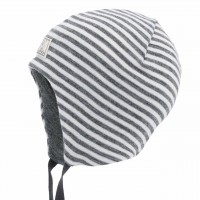 Super leichte Babymütze Wolle-Seide Radler grau-natur