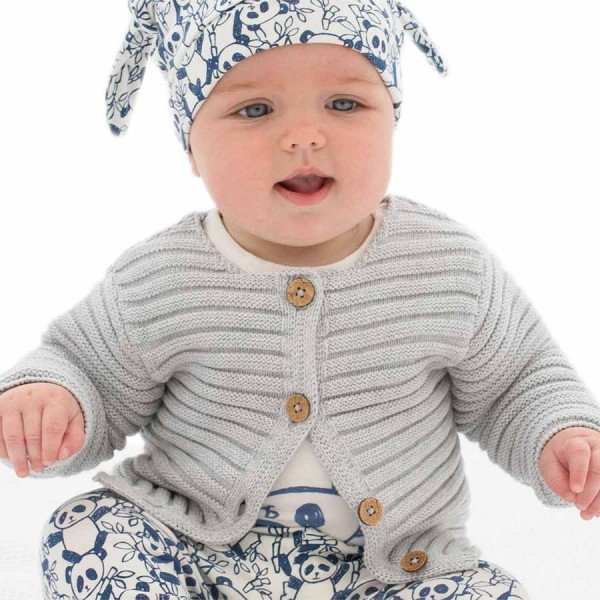 Hochwertige Baby Strickjacke silbergrau
