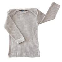 Baumwolle Wolle Seide Langarmshirt grau meliert