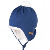 Warmer Baumwoll-Plüsch außen Wolle Mütze blau
