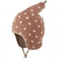 Warme Woll Mütze Pünktchen rosa