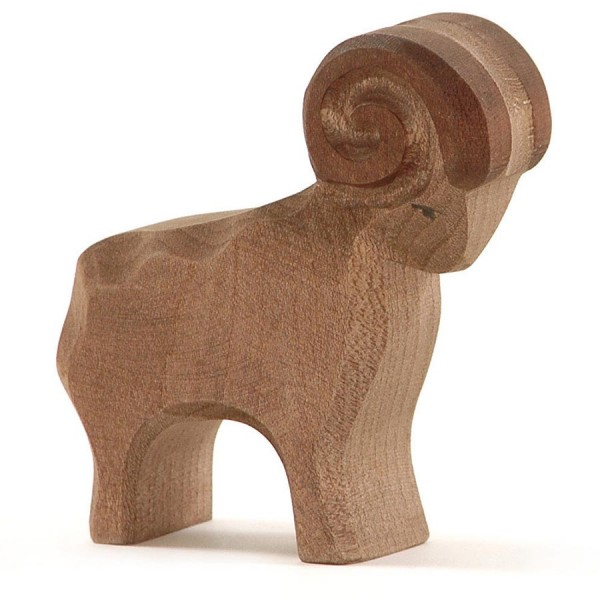 Schafbock braun Holztier 9,5 cm hoch