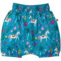 Leichte Mädchen Shorts Pferde blau