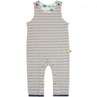 Babystrampler ohne Arm in grau gestreift