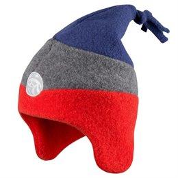 Wintermütze Kinder Fleece warm rot-blau