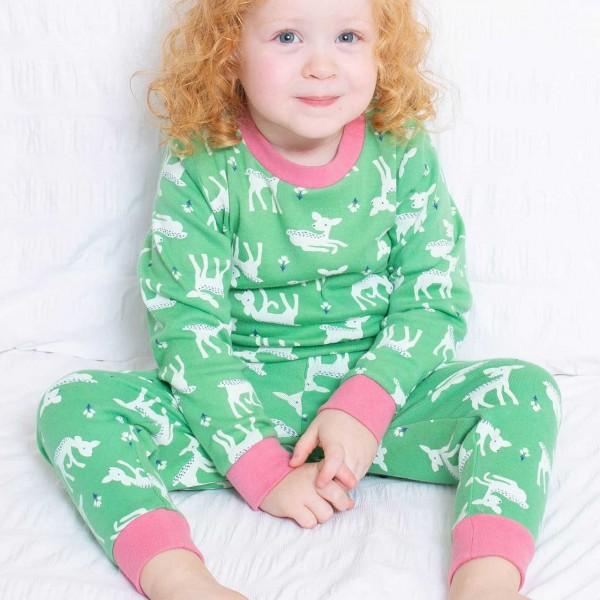 Bündchen Schlafanzug Rehe grün
