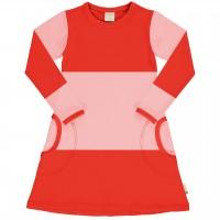 Langarmkleid im Block-Design rosa-rot