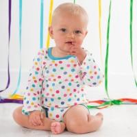 Vorschau: Bio Baby Body gemustert pink türkis 3er
