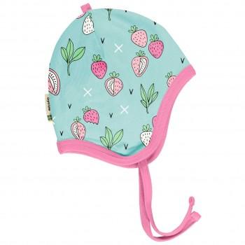 Babymütze leicht mit Ohrenschutz Erdbeeren in mint