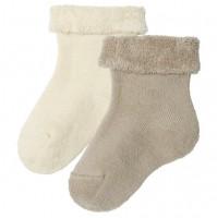 Babysocken warm - Frottee innen & Strick außen im 2er Pack