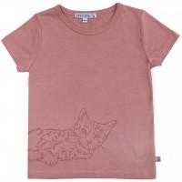 Shirt kurzarm altrosa Katze gestickt