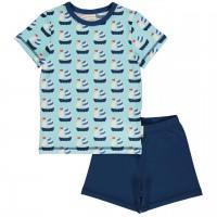 Sommer Schlafanzug Segelboote hellblau