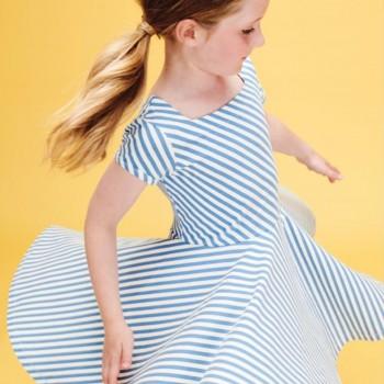 Elegantes Flatterkleid Streifen blau