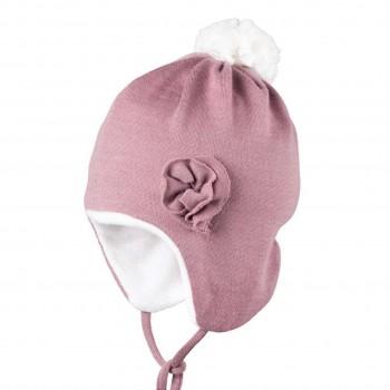 Warme Bio Baby Wintermütze mit Bommel rosa