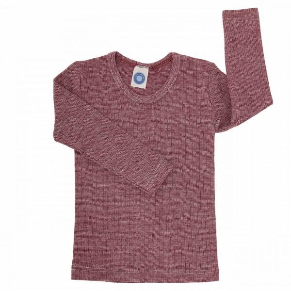 Atmungsaktives Wolle Seide Shirt weinrot